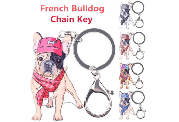 Acrylic French Puppy Dog Keychain Ring For Women Kid Bag Pet Lover Jewelry Charm