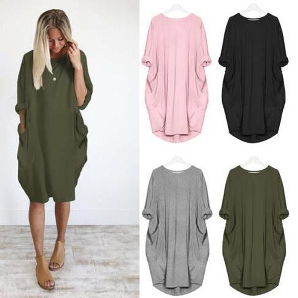 Summer, Plus Size, sleeve dress, Shirt