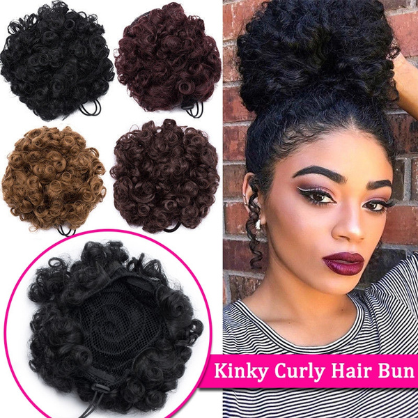 Fashion Afro Ponytail Hair Extension Natural Black Brown Short Curly Synthetic Ponytail With Clips 9 Color Wish
