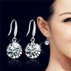 Cubic Zirconia, Sterling, Fashion, Dangle Earring