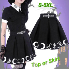 Goth, Plus Size, lettersprinted, Pleated