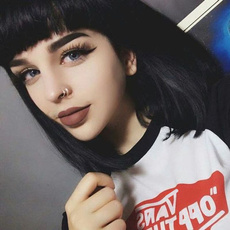 wig, Black wig, Goth, Fashion