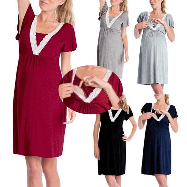 916 MUMS CHOICE Maternity Nightdress Pregnancy Nursing Gown Hospital XXL Fuchsia