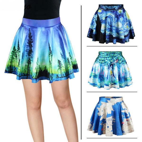 Geek, blueskirt, digitalprintskirt, Dress