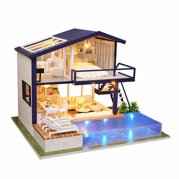 Doll House Diy Furniture With Swimming Pool Girl S Toys For Children Dollhouse Miniatures Home Toy Wooden House Romantic Gift Wish