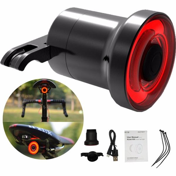 Bicycle Smart Brake Light Sense LED USB Tail Light Rear Lamp XLite100 Waterproof