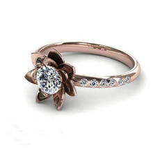 18 k, brown, Flowers, Rose Gold Ring