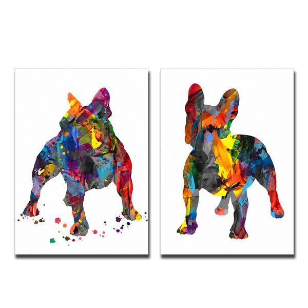 Decor, Modern, watercolorart, bulldog