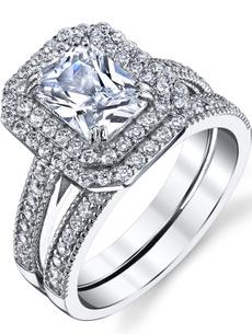 Sterling, Cubic Zirconia, Cut, wedding ring