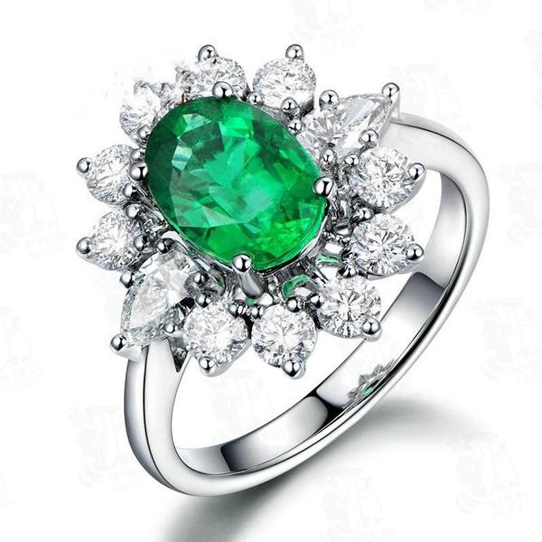 Flowers, emeraldring, flowerring, Diamond Ring