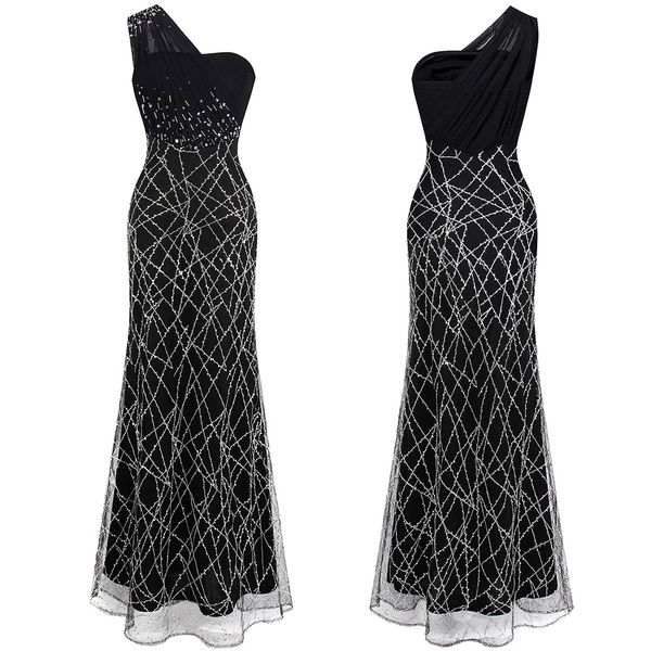 gowns, one shoulder dress, Beaded, long black dress