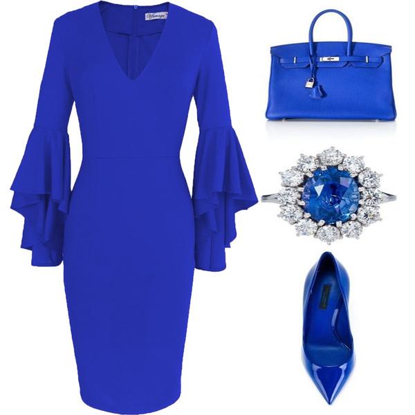 Deep V-Neck, fashion women, office dress, Sleeve