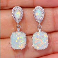 opalearring, 925 sterling silver, Cocktail, whitefireopal