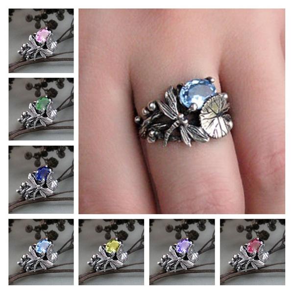Sterling, dragon fly, DIAMOND, wedding ring