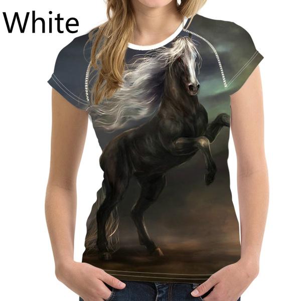 unisex, horse, Funny T Shirt, 3D T-shirt
