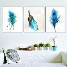 peacock, Wall Art, Home Decor, canvaspainting