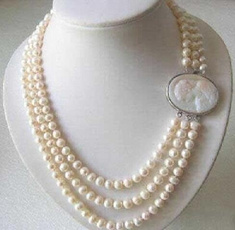 Necklace, pearls, Cameo, Jewelry