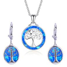 Blues, Jewelry Set, Chain Necklace, opalearring