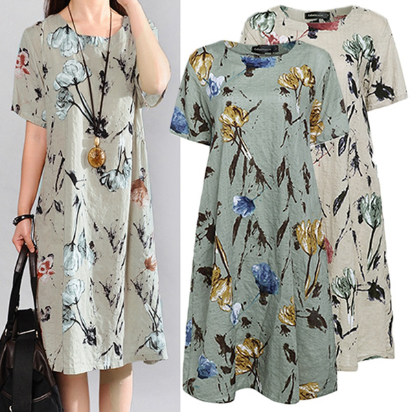 Plus Size, long dress, Dress, short sleeves