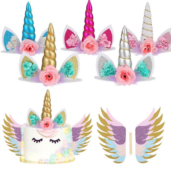 Unicorn Cake Topper Sparkly Wings Unicorn Party Supplies for Birthday Decor SI