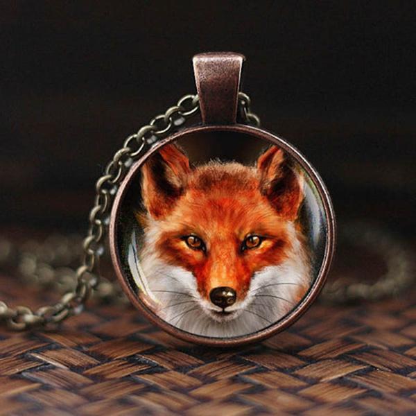 wildlife wild fox necklace sterling silver fox wildflower Floral Fox Pendant