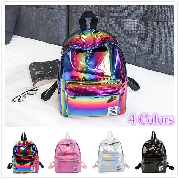 Laser Backpack Girl School Bag Shoulder Women Rainbow Metallic Laser Backpack C