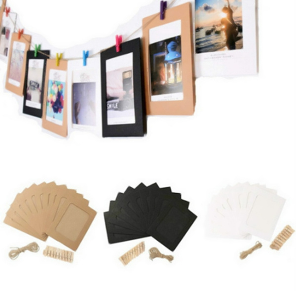 10pcs Diy 6 Inch Hanging Album Clip Kraft Paper Photo Frame Strings Rope Clips Sets For Wedding Decoration Garland Wish