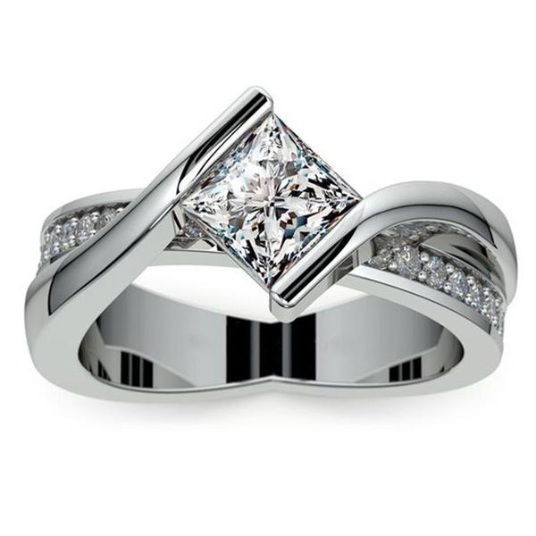 DIAMOND, princesscutengagementring, Women jewelry, Engagement Ring