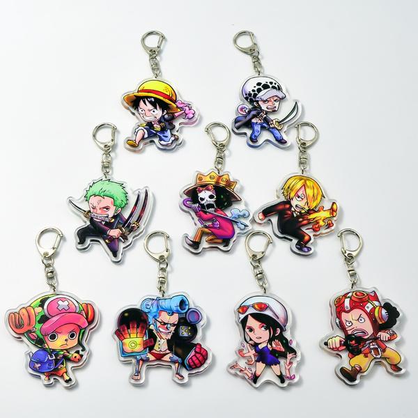 Set of 3 One Piece Anime Acrylic Keychain Franky Tony Chopper Usopp v3