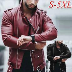 Plus Size, Buckle-Belt, Long Sleeve, men leather jackets