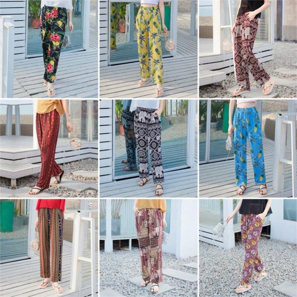 womenswidelegfloraltrouser, womensprintedstraighttrouser, womensprintedfloraltrouser, Summer
