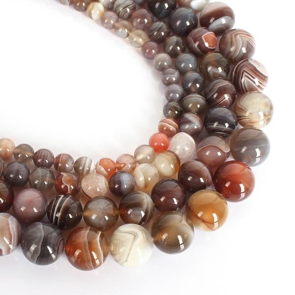 roundbead, Jewelry, naturalgemstone, botswanaagate