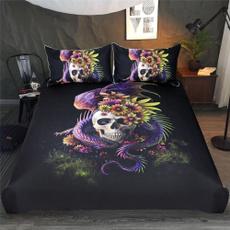3pcsbeddingset, pillowscase, skull, kingsize