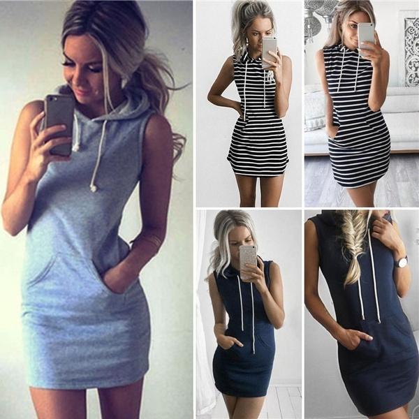 Summer, hooded, sweater dress, short dress