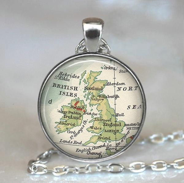 Map, cabochon, England, Jewelry