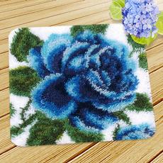 Blues, latchhookkit, Flowers, Embroidery