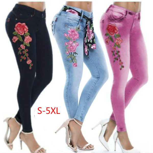 Women Pants, trousers, Floral print, skinny pants