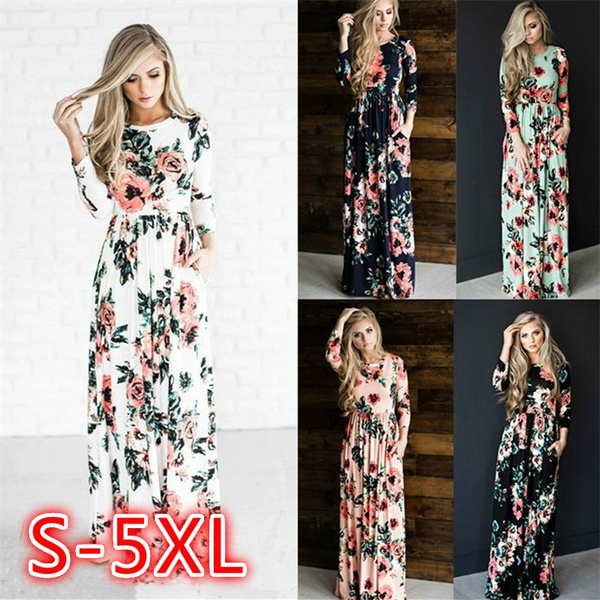 long skirt, Fashion, Floral print, Sleeve