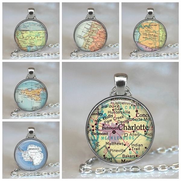 Map, Jewelry, Gifts, necklace for women