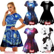 Mini, short sleeve dress, pleated dress, Summer