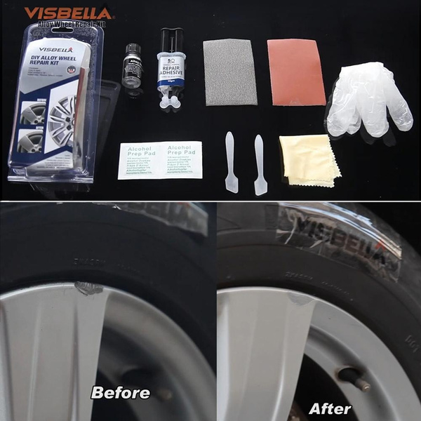 DIY Alloy Wheel Repair Adhesive Kit General Purpose Silver Paint Fix Tool for Car Auto Dent Scratch Care Accessory