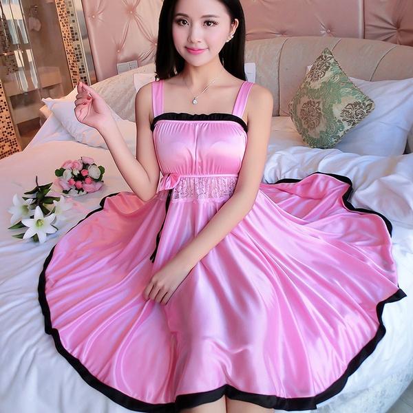 ladiessilknightgown, silknightwear, Lace, lacesleepwear