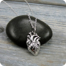 loveromancenecklace, Heart, anatomicalheartnecklace, organbodypartnecklace