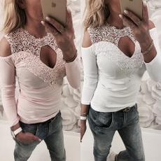 womens top, long sleeve blouse, Lace, Long Sleeve