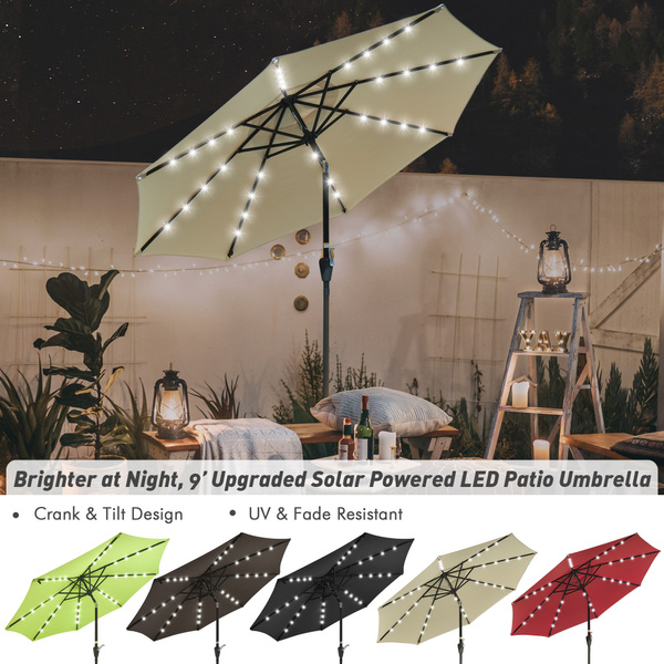 tilt, 9ftsolarpatioumbrella, ledssunshadecoverumbrella, outdoorliving