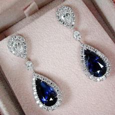 Sterling, DIAMOND, Sapphire, bluesapphireearring