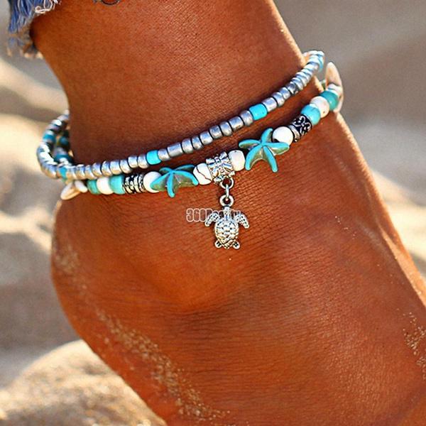 Turtle, Turquoise, starfish, Chain