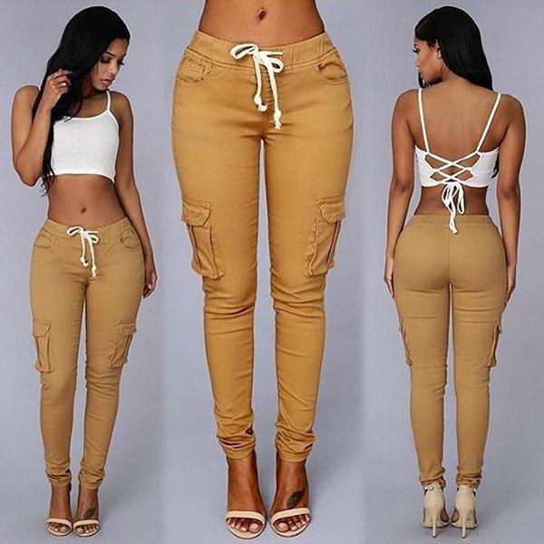 Women Pants, Plus Size, pocketjean, fulllengthpant