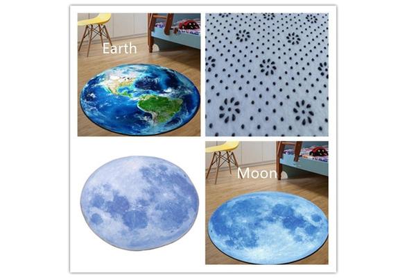 3D Print Carpet Planet Moon Earth Round Floor Mat Computer Chair Anti-slip Rugs