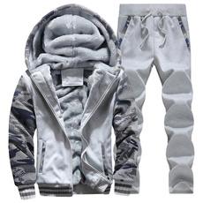 hooded sweater, velvet, Winter, slim
